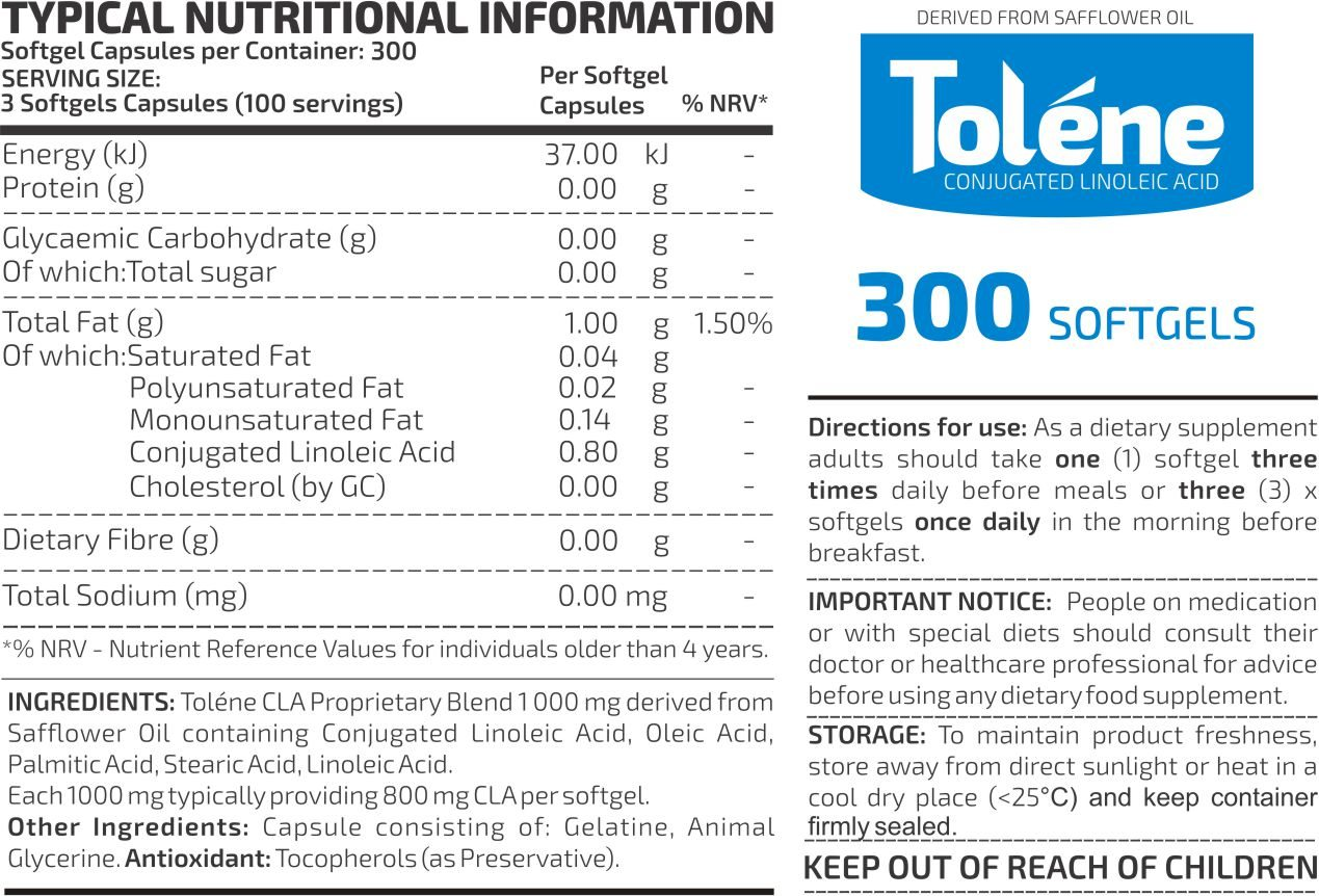 SONTAL Tolene CLA 300 Nutritional Info 1400